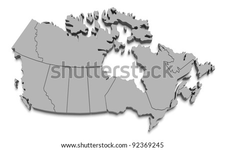 3d canada map on white isolated - stock photo