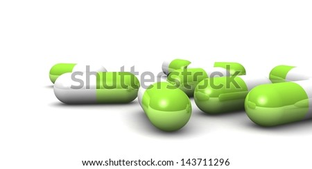 3D capsule pills isolated on white