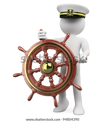 3D Captain sailing a wooden rudder. Rendered at high resolution on a white background with diffuse shadows. - stock photo