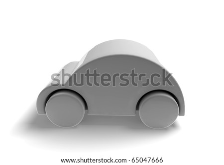 3D car caricature render- grey - stock photo