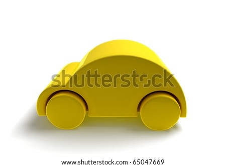 3D car caricature render- yellow - stock photo