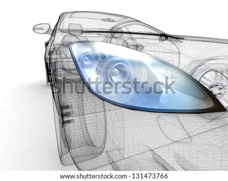 3D Car design isolated on white background. - stock photo