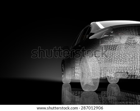 3d car model on a black background - stock photo