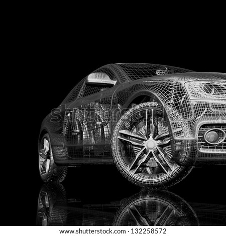 3d car model on a black background. render image with shine and reflection - stock photo