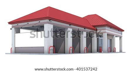 3D Car Wash on white background. Isolated
