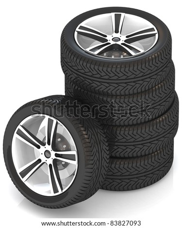 3d car wheels on white background.