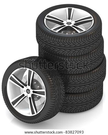 3d car wheels on white background. - stock photo