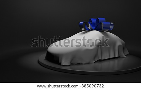 3D car wrapped under a white sheet and shiny blue bow - stock photo