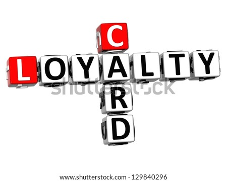 3D Card Loyalty Crossword on white background - stock photo