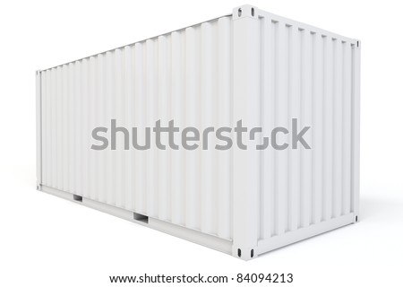 3d cargo container blank on white background - stock photo