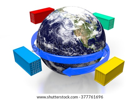 3D cargo containers and an Earth - great for topics like freight transportation, global transport, merchandises, goods, import/export etc.