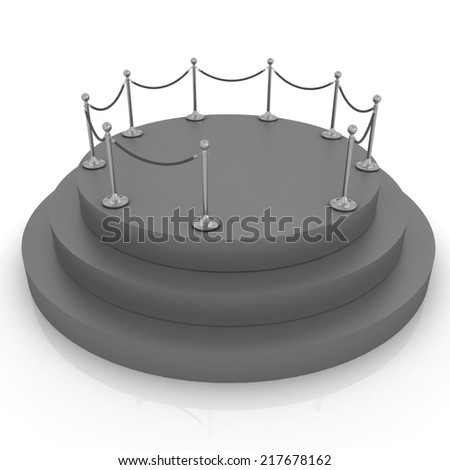 3D carpeting podium with gold handrail - stock photo