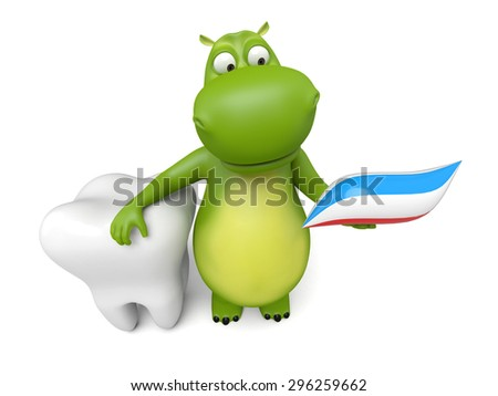 3d cartoon animal with a big tooth. 3d image. Isolated white background