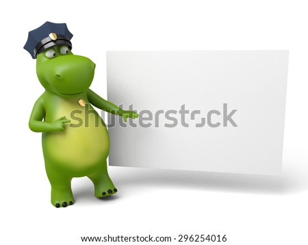 3d cartoon animal with a blank signboard. Police information.