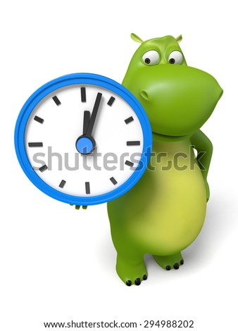 3d cartoon animal with a clock. 3d image. Isolated white background