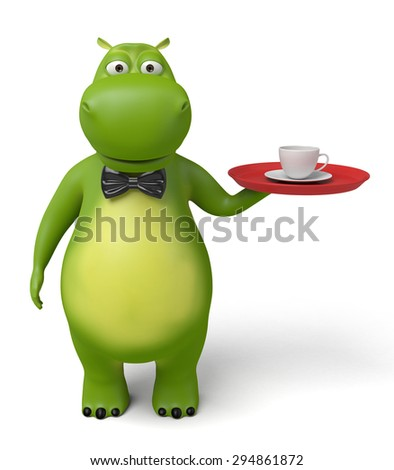 3d cartoon animal with a cup of coffee. 3d image. Isolated white background