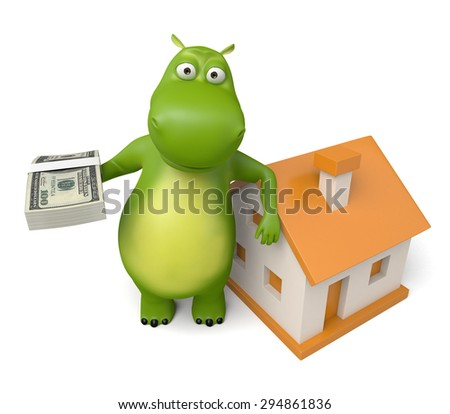3d cartoon animal with a new house. 3d image. Isolated white background.