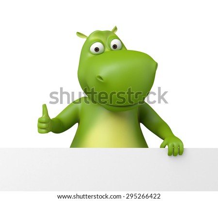 3d cartoon animal with blank board. 3d image. Isolated white background - stock photo