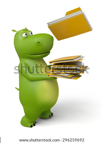 3d cartoon animal with some folders. 3d image. Isolated white background