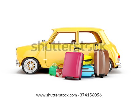 3d cartoon car and luggage, travel concept - stock photo