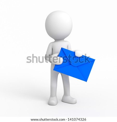 3d cartoon character and envelope