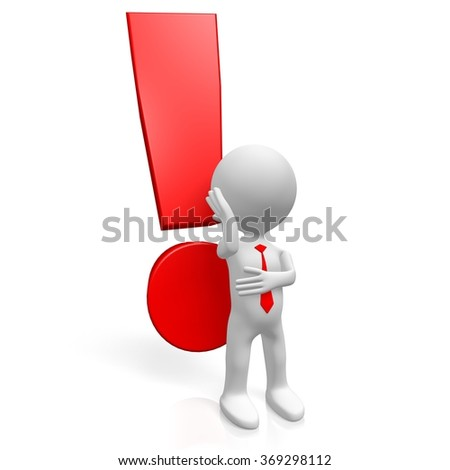 3D cartoon character and exclamation mark - great for topics like surprised, advertisement, anger, danger etc. - stock photo