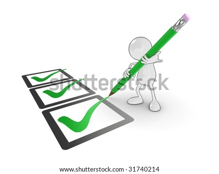 3d cartoon character ticking large check boxes. - stock photo