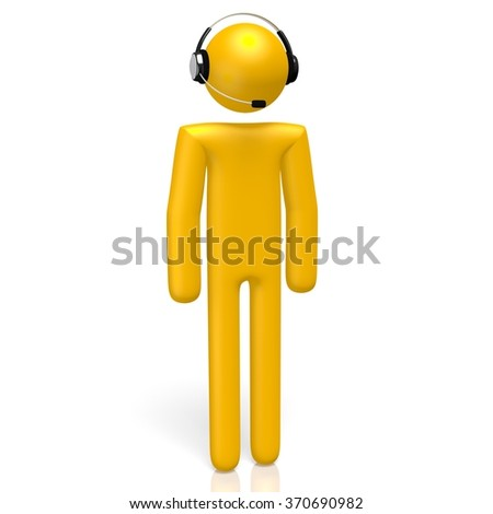 3D cartoon character with headphones - great as listening to the music concept. - stock photo