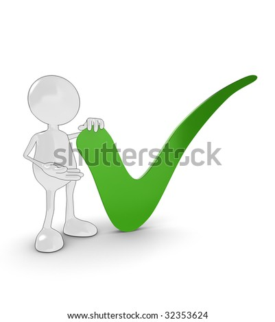 3d cartoon character with large green tick. - stock photo