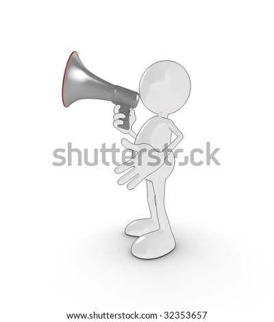 3d cartoon character with megaphone.