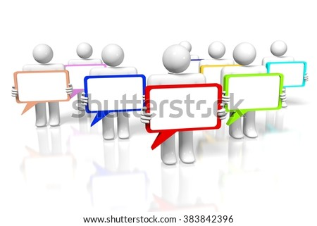 3D cartoon characters and speech bubbles - great for topics like communication, dialog, talking, social networking, conversation, chat etc. - stock photo