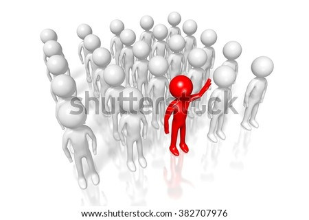 3D cartoon characters - leader concept. - stock photo