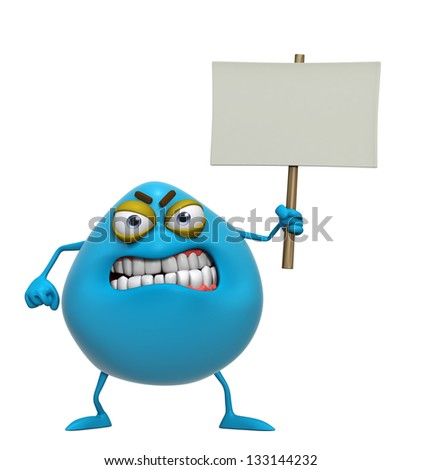 3d cartoon cute blue monster holding placard - stock photo