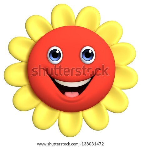 3d cartoon cute flower - stock photo
