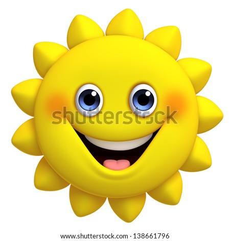 3d cartoon cute sun - stock photo