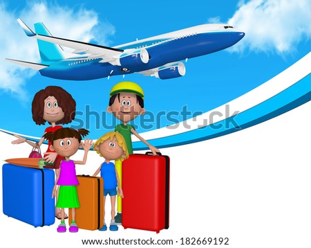 3d cartoon family going on  vacations - stock photo
