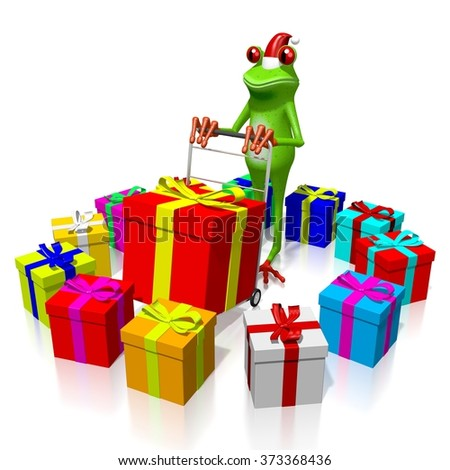 3D cartoon frog and gift boxes - Christmas concept. - stock photo