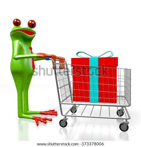 3D cartoon frog, shopping cart and a gift box - great for topics like birthday, Christmas etc. - stock photo
