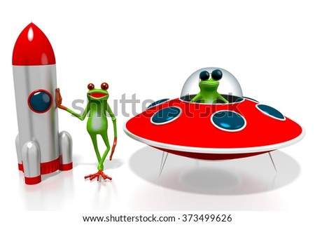 3D cartoon frogs and a spaceship/rocket - great for topics like cosmos, space exploring being an astronaut etc. - stock photo