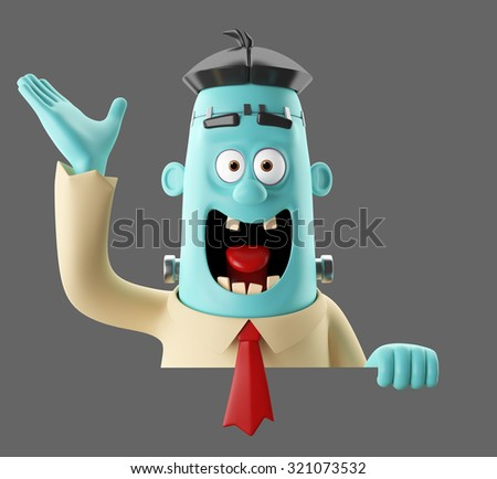 3D cartoon funny monster man, illustrated frankenstein, halloween icon, isolated, no background - stock photo