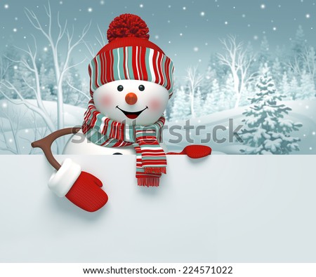 3d cartoon happy snowman holding blank banner, winter background, Christmas greeting card - stock photo