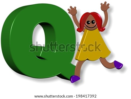 3d cartoon illustration of a happy little girl standing next to a giant letter Q.
