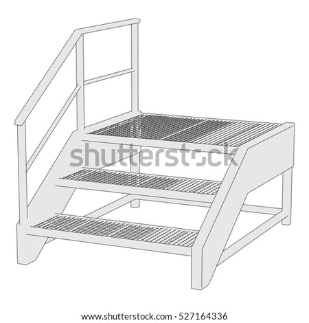 2d cartoon illustration of industrial stairs