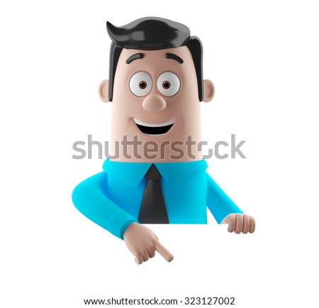 3D cartoon illustration of simple merry funny man in a suit and tie, blue shirt, black hair, isolated on white background - stock photo