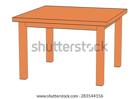 2d cartoon image of table - stock photo