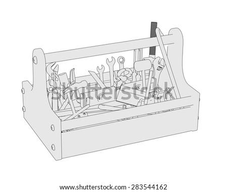 2d cartoon image of toolbox - stock photo