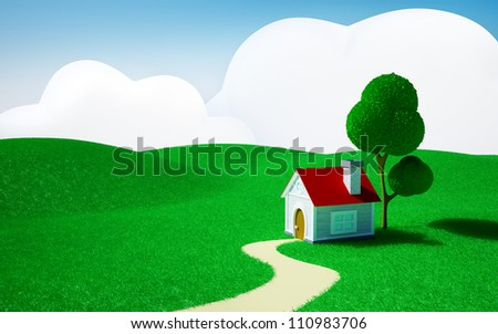 3d cartoon landscape, a house on a green field, hills and blue sky with clouds - stock photo