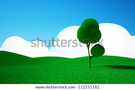 3d cartoon landscape, a tree on a green field, hills and blue sky with clouds - stock photo