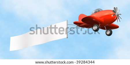 3D cartoon like old fashioned red airplane with empty banner flying upward