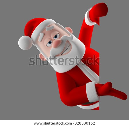 3d cartoon merry santa claus peeping, coming out from behind a blank banner, 3D render funny cartoon characte, happy christmas icon - stock photo
